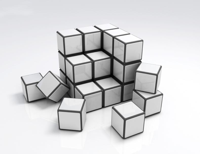 Collapse blocks. 3d cubes.