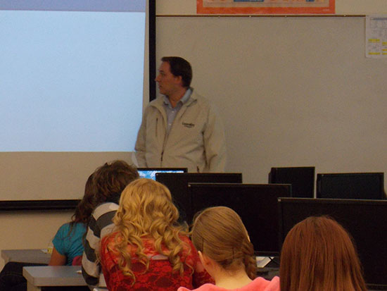 Presenting to the students at Parowan High School