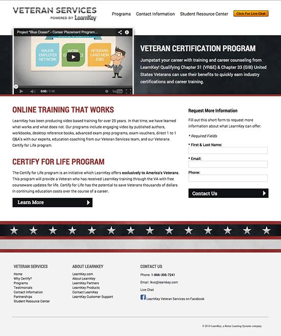 LearnKey Veteran Services design